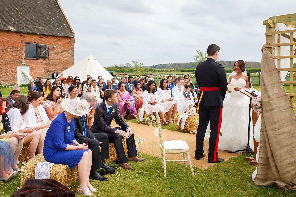 an outdoor ceremony at godwick hall