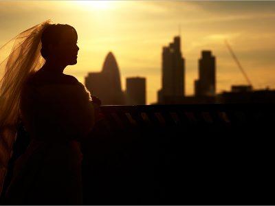 bride in london skyline