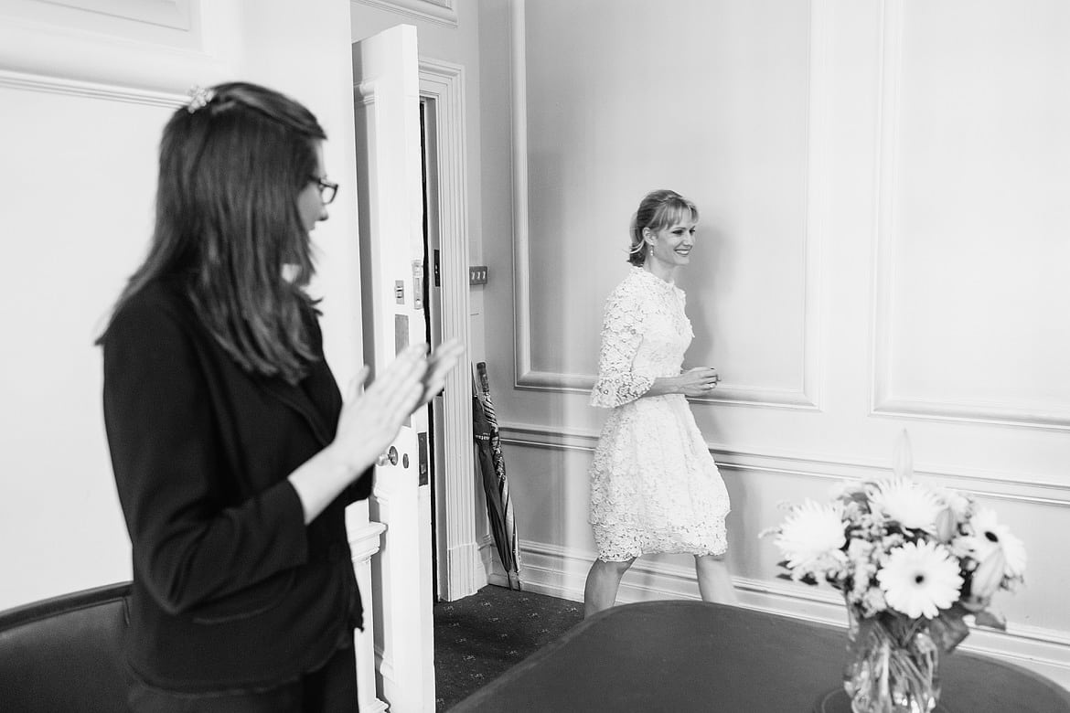 the bride enters the ceremony room at marylebone registry office