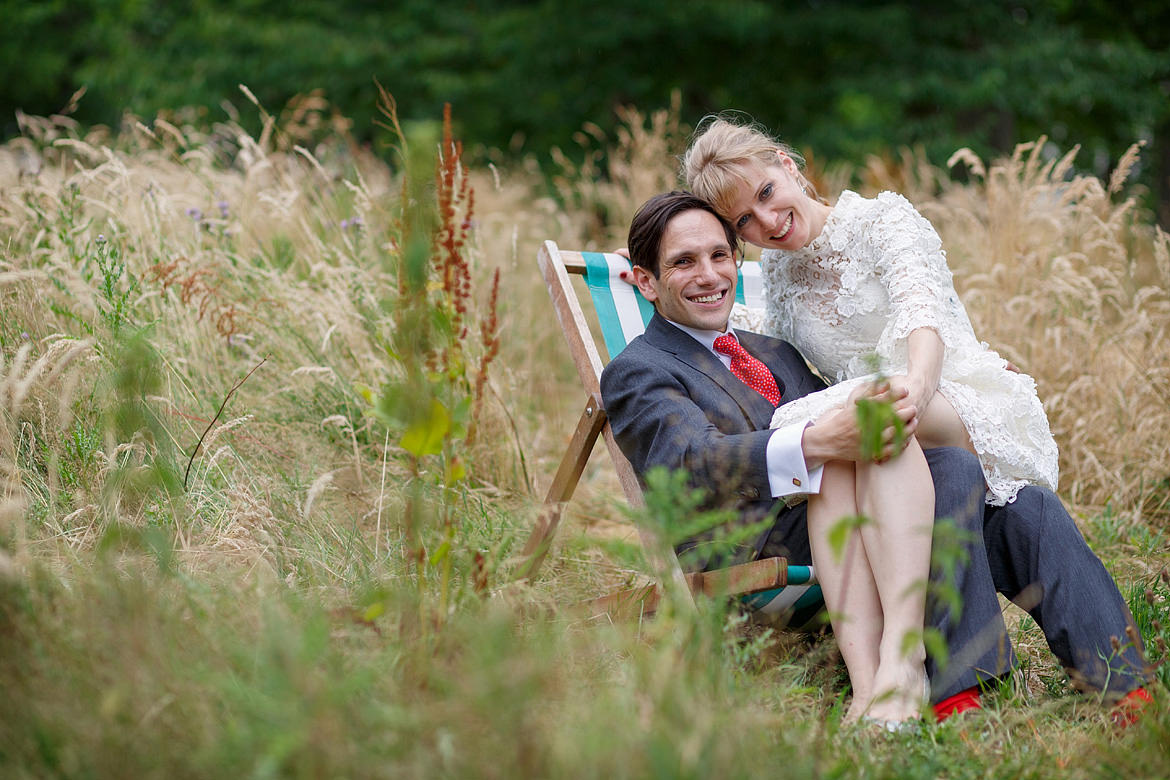 relaxed couple portrait in a deckchair