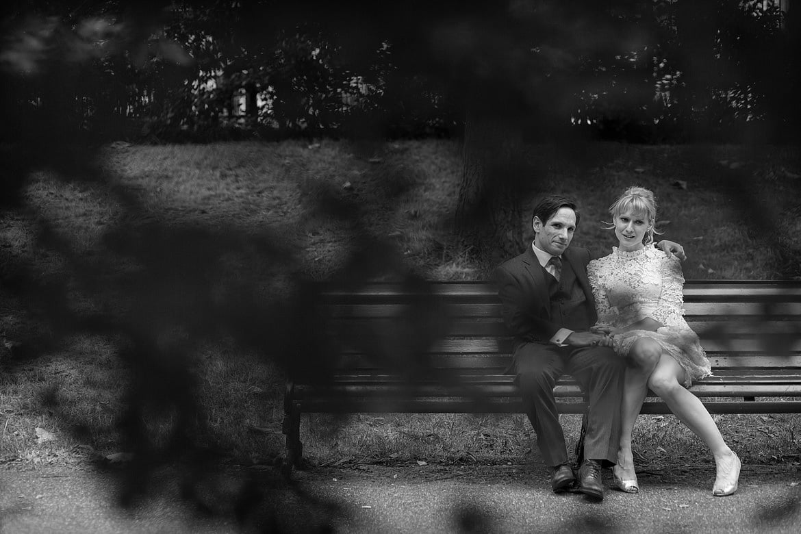 black and white wedding couple in green park london