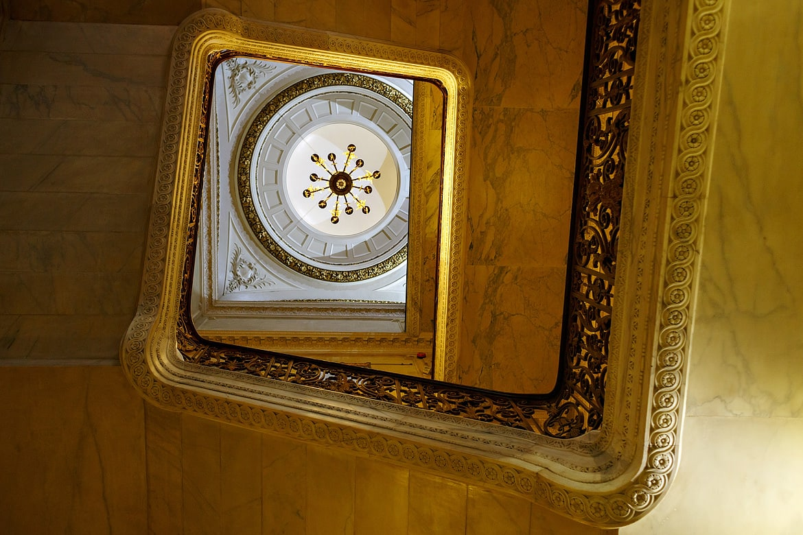 the view up the staircase