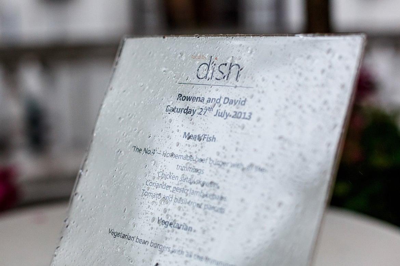 detail shot of the wedding menu