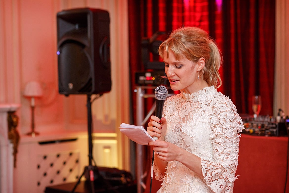 rowena reads her speech to the guests