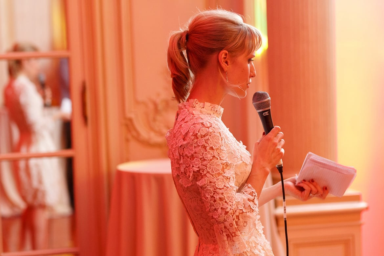 the bride reads her speech