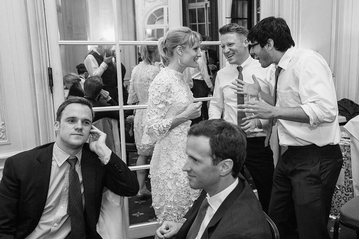 the bride chats with evening guests