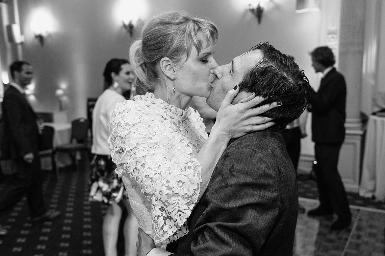 bride and groom embrace on the dancefloor
