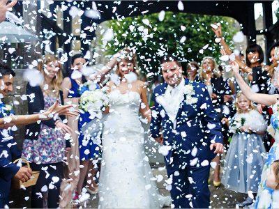 confetti at a castle hill wedding