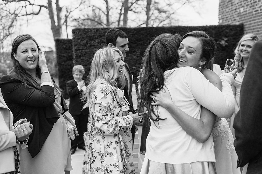 the bride greets her guests