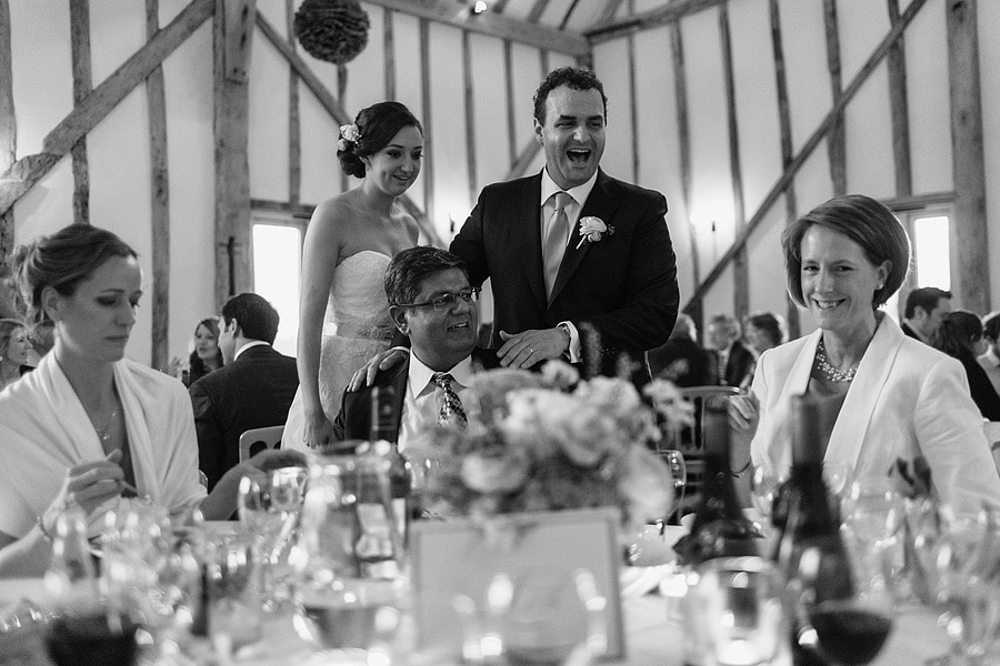 bride and groom chat to their guests