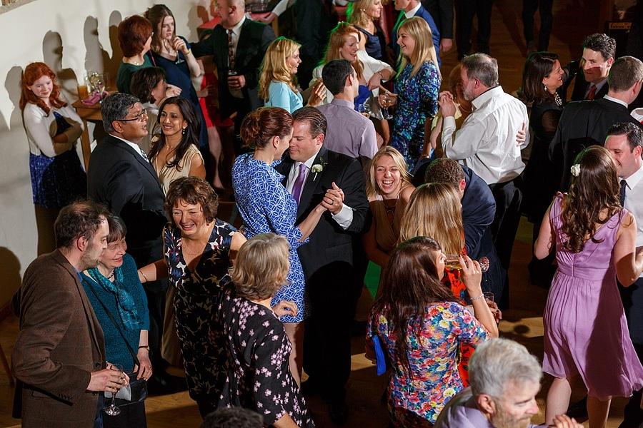 wide shot of the guests dancing