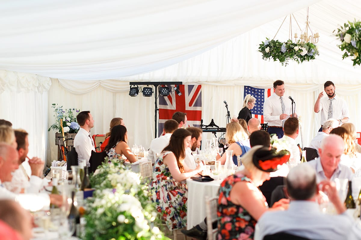 the best mens speech in the marquee at bluebell vineyard