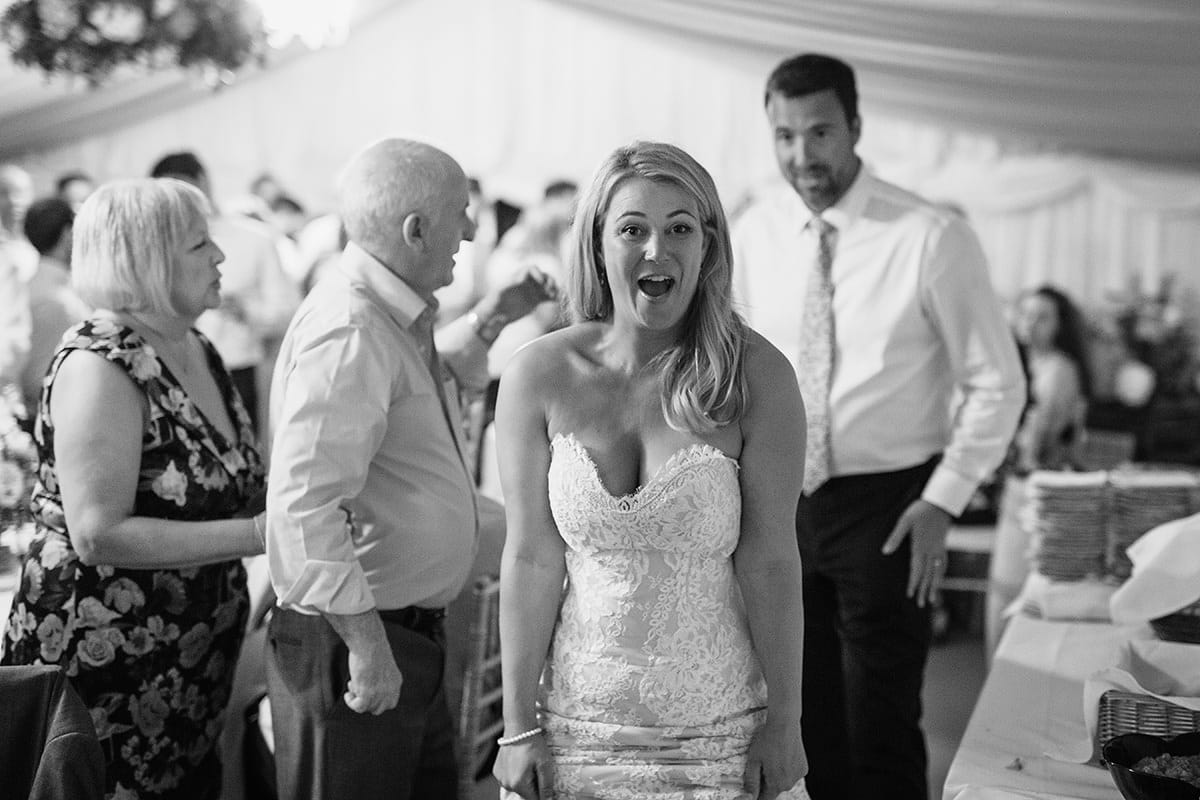 the bride walks to the dancefloor for the first dance