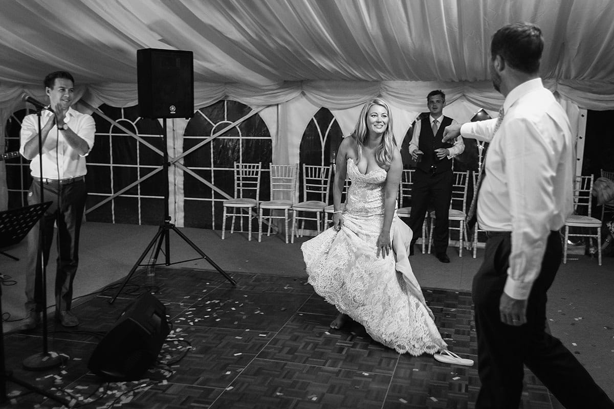 laura and todd approach the dancefloor