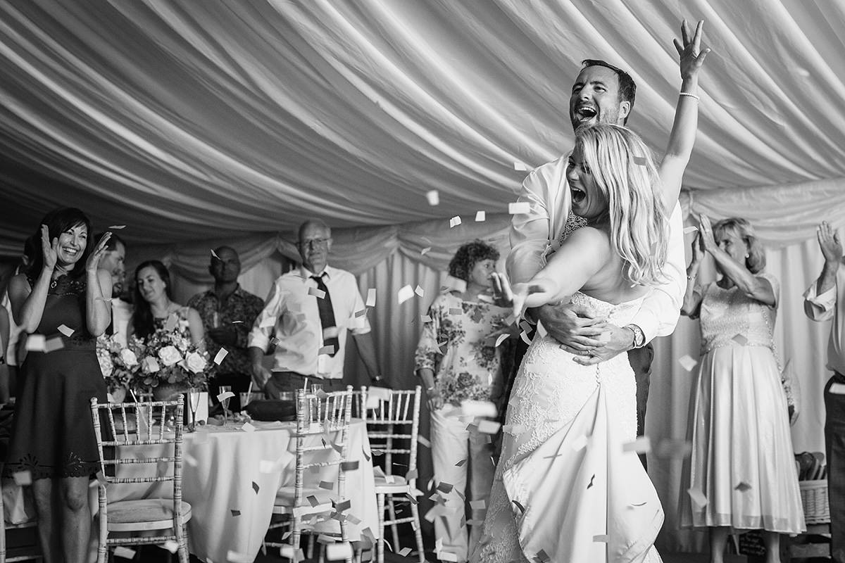 cheers at the end of the first dance