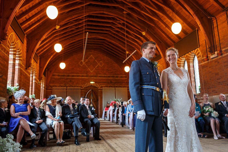 bride and groom inside the gressenhall chapel