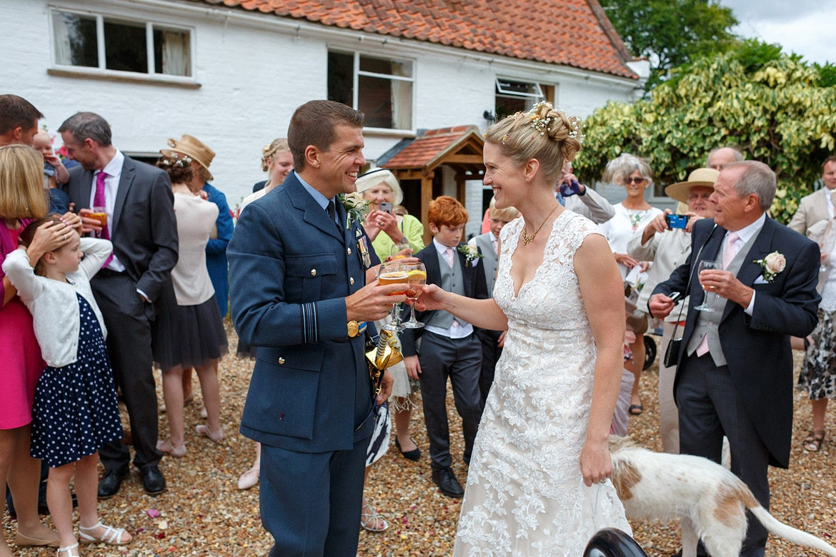 bride and groom get their first drinks