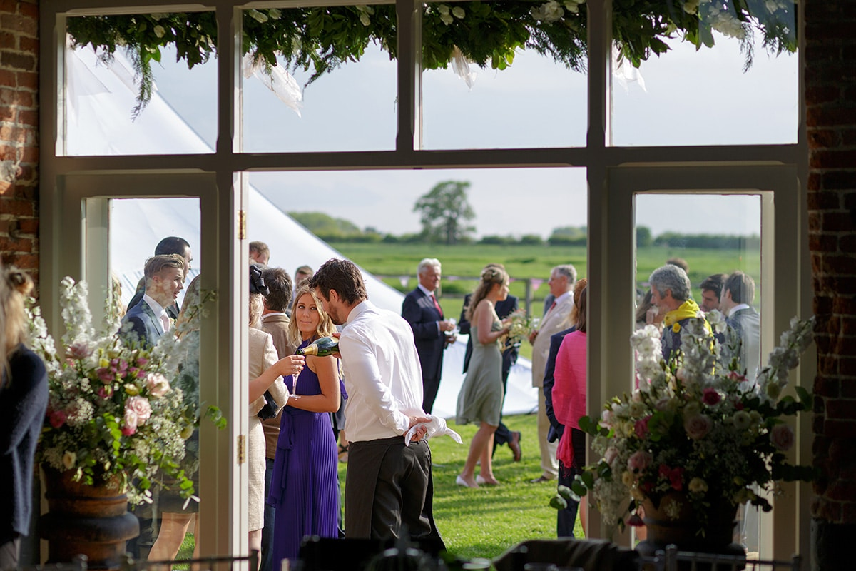 a view of the guests from inside godwick barn