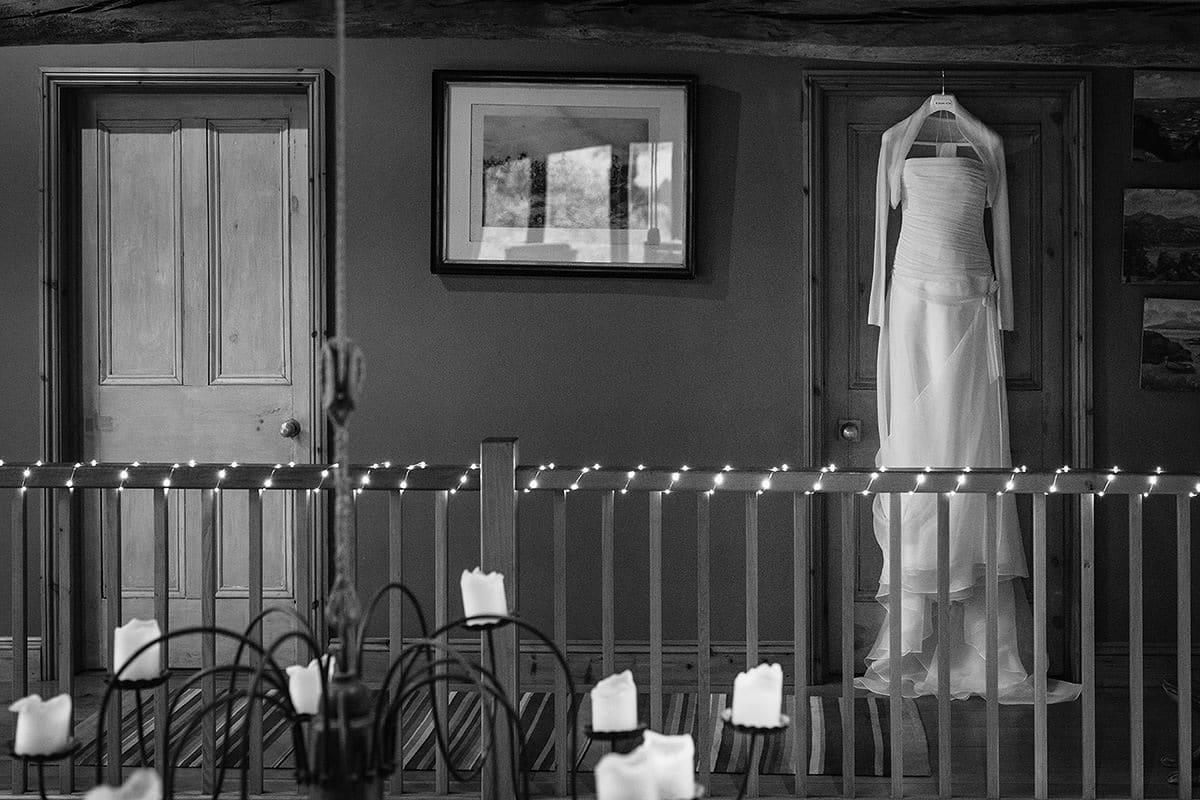 wedding dress hanging inside chaucer barn