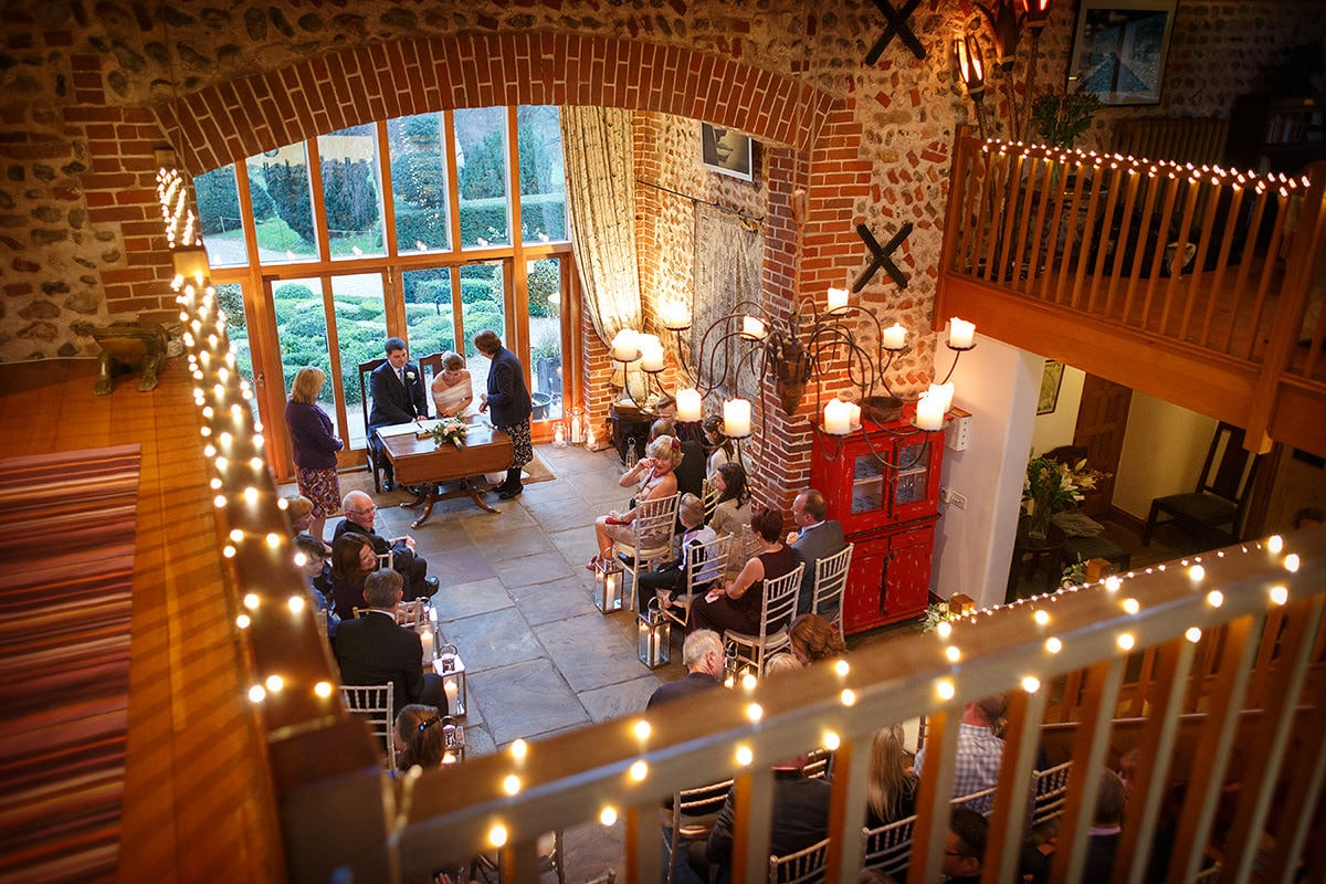 a wide view of a chaucer barn wedding ceremony