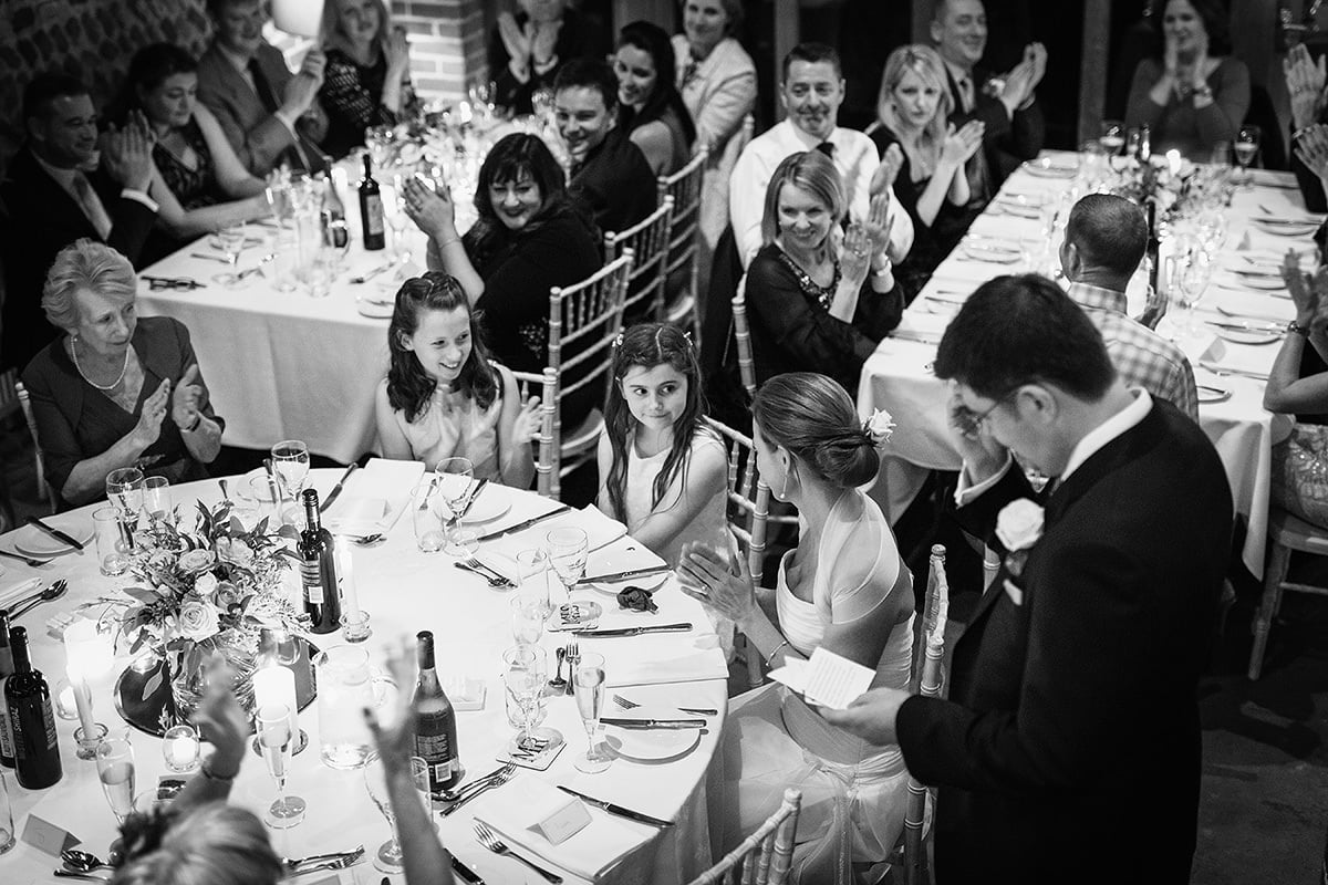 the bride applauds her daughter