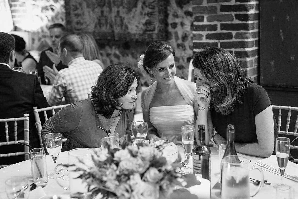 the bride and her friends talk