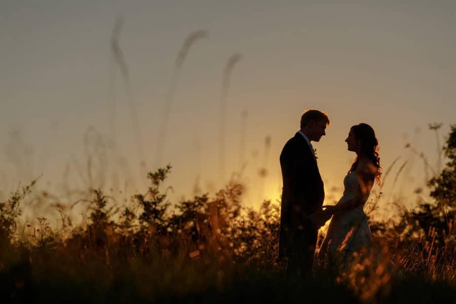 a sunset photos at anna and toms suffolk wedding