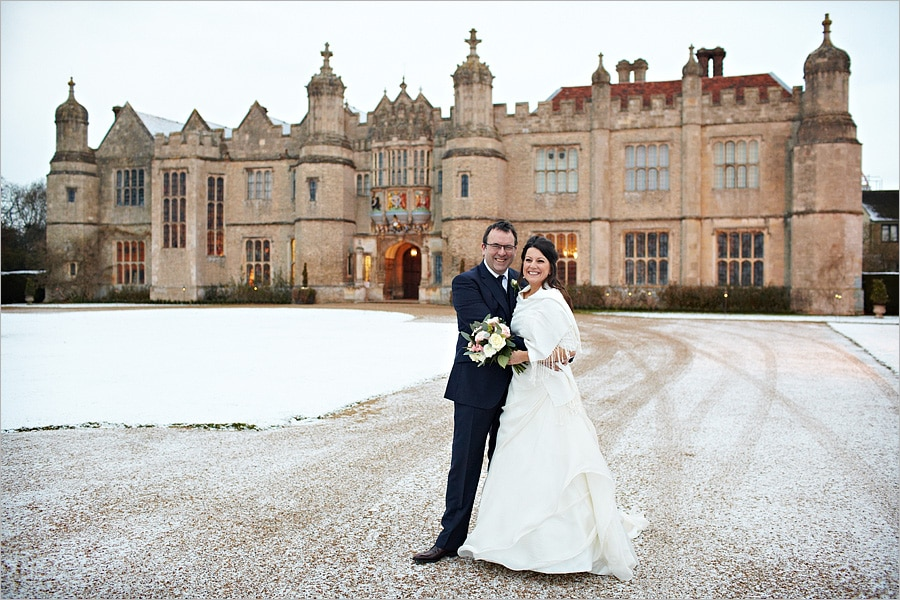 Wedding couple outside Hengrave Hall