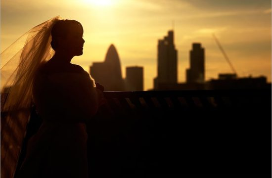 bride in london skyline
