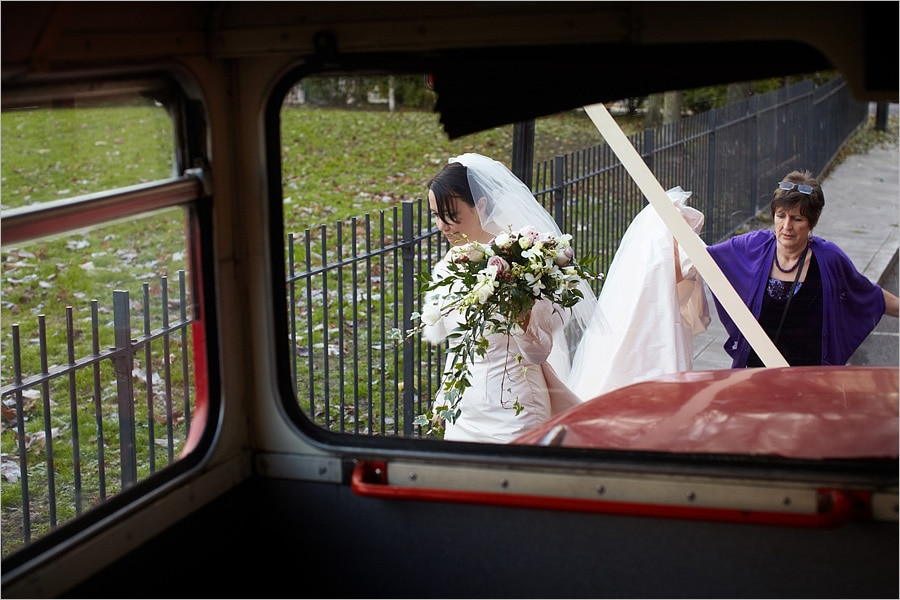 bride getting on the bus