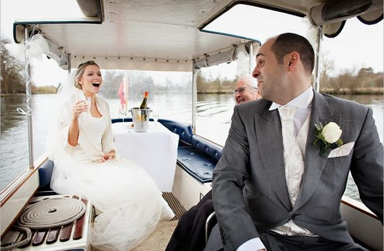 A quick trip on a boat for the bride and groom