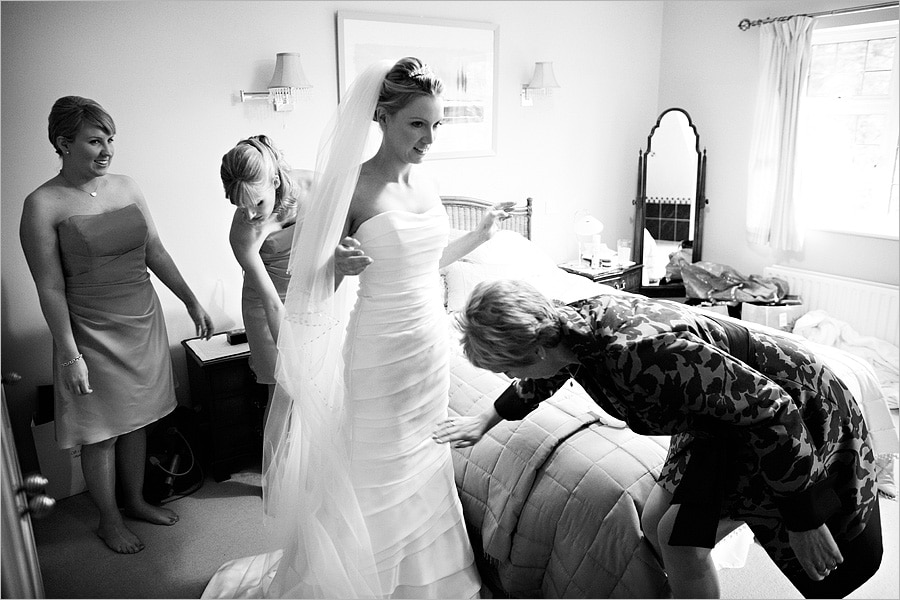 final adjustments to the wedding dress
