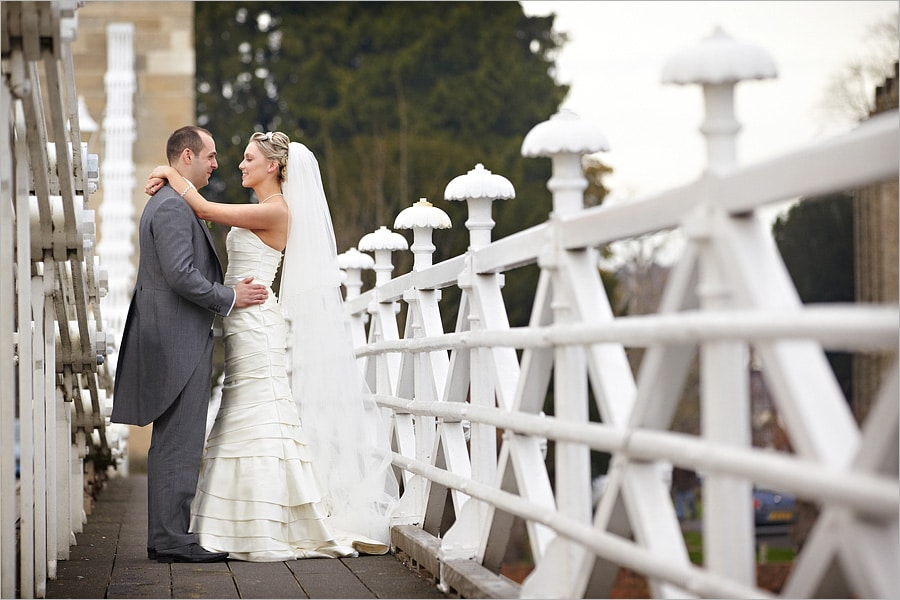a wedding on the bridge in marlow