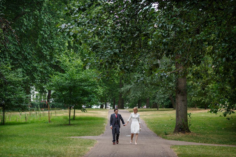 rowena and david walk through green park
