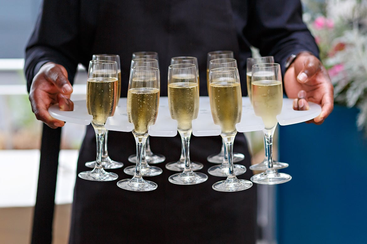 champagne served at an RAS wedding