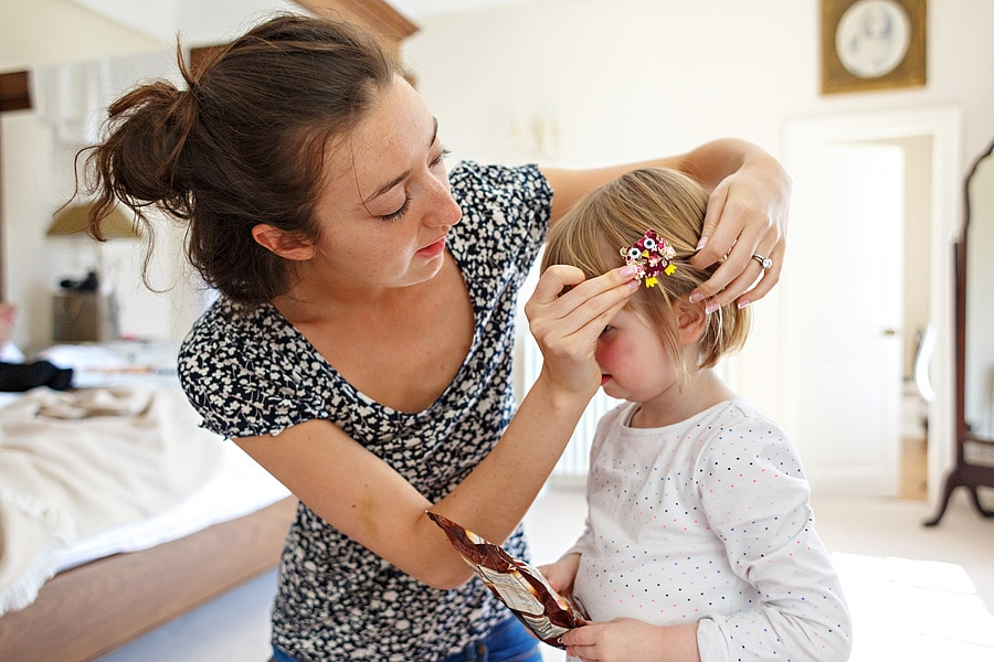 fixing the flowergirls hair