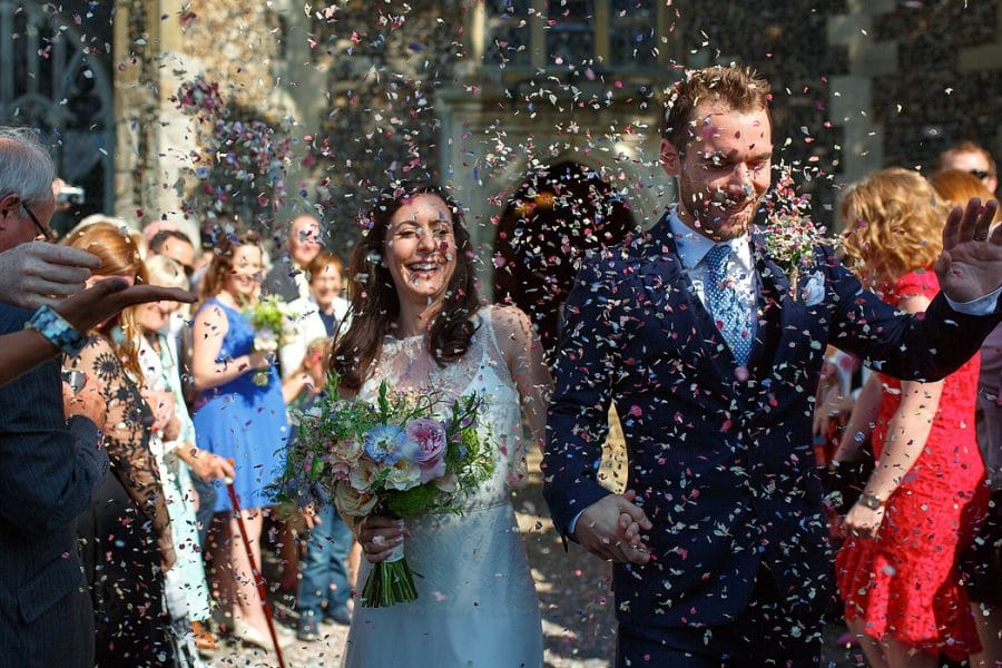 Confetti at a Norfolk Wedding photographer Duncan Kerridge