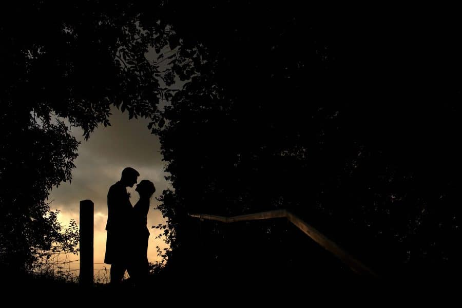 folly farm wedding silhouette