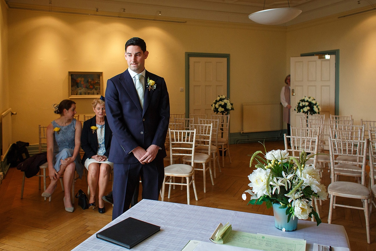 rob waits nervously in the ceremony room