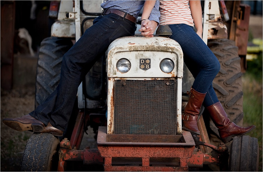holding hands on the tractor