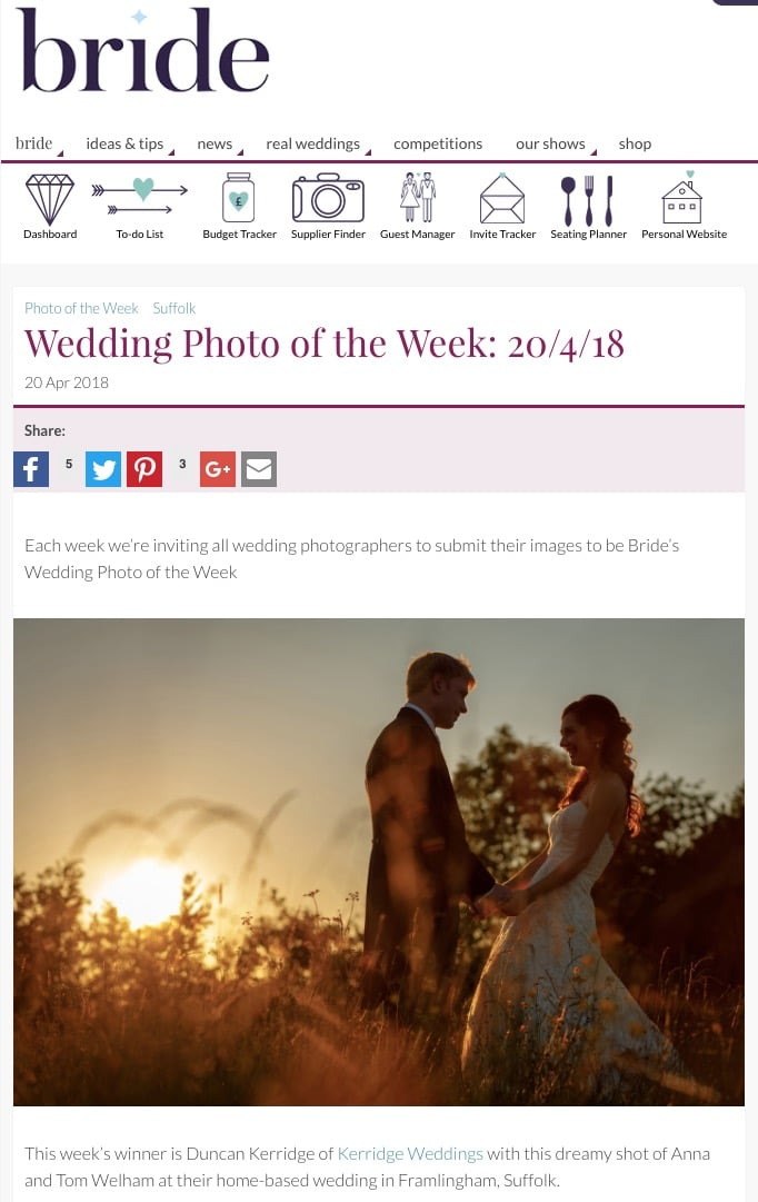 wedding photo of the week in bride magazine