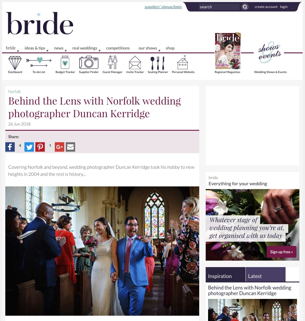bride magazine interview with norfolk wedding photographer Duncan Kerridge