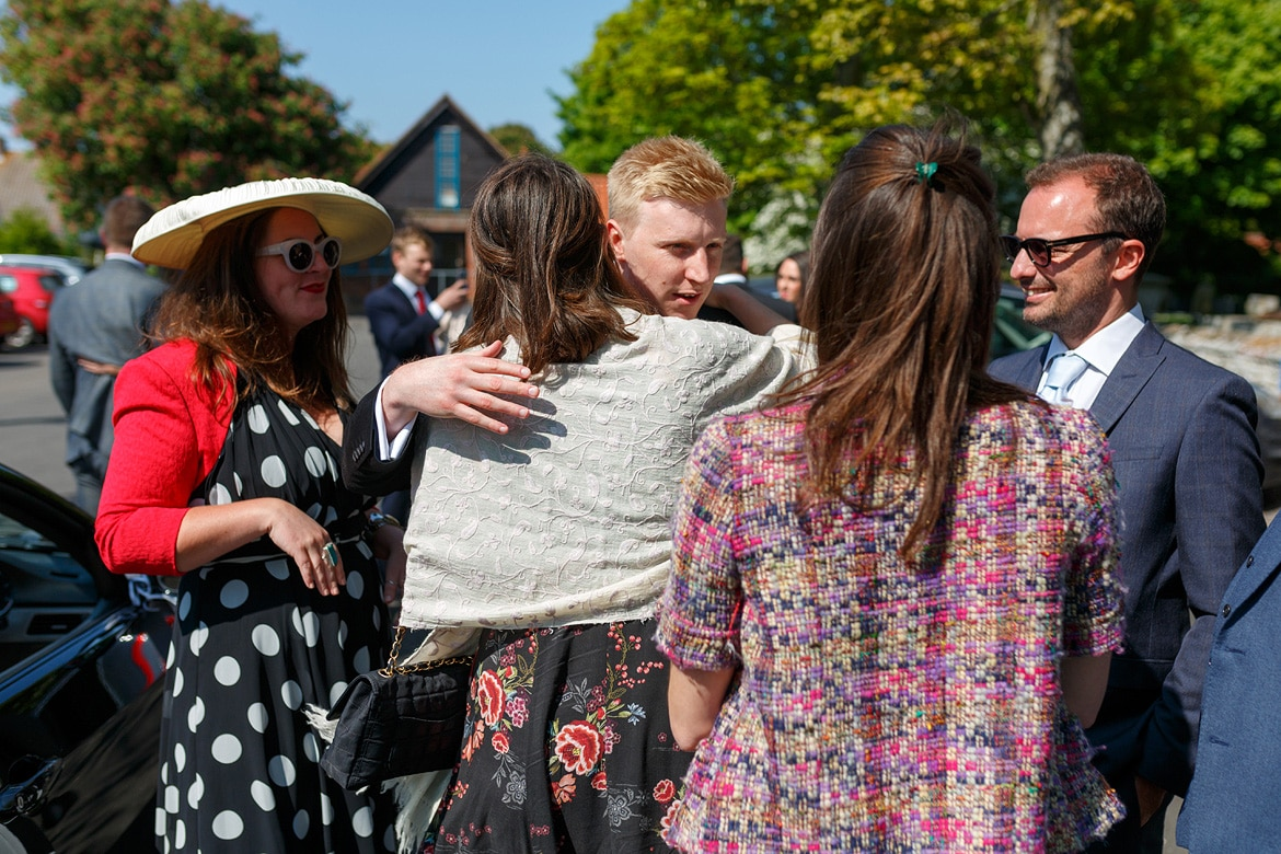 rory greets his guests outside aldeburgh church