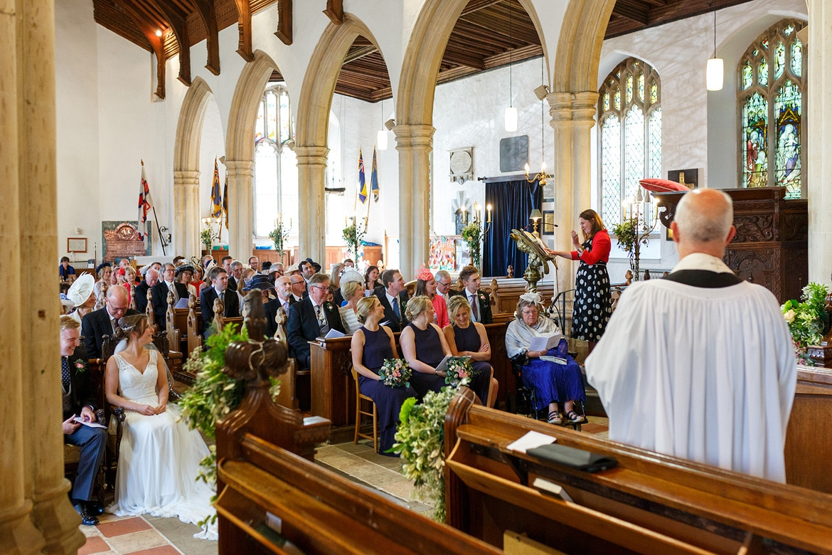 a reading during an aldeburgh church wedding ceremony