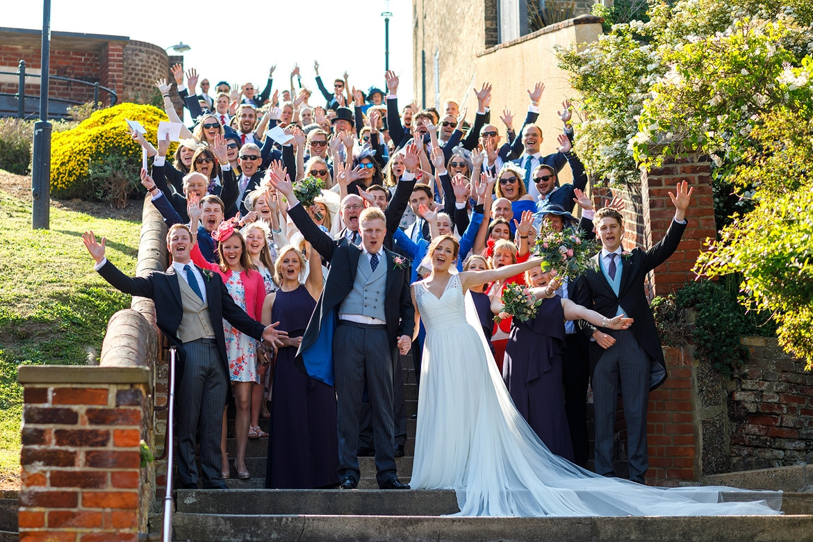 everyone at the wedding on aldeburgh town steps