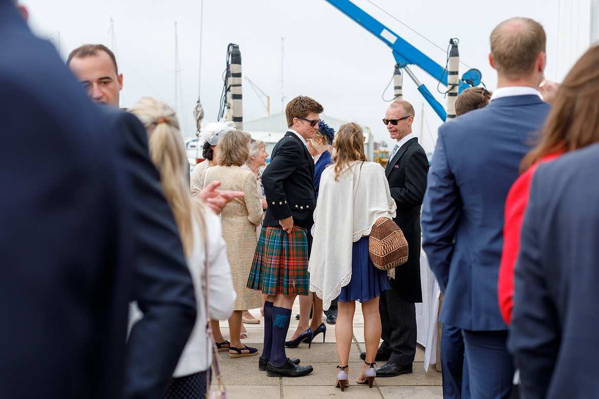 wedding guests at aldeburgh yacht club