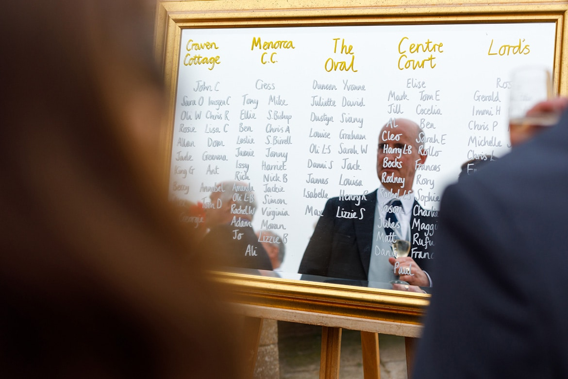 a wedding guest reflected in the table plan