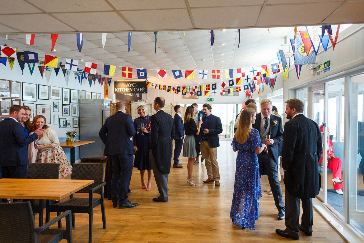 inside at an aldeburgh yacht club wedding