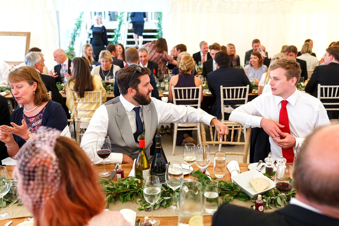 guests in the marquee at an aldeburgh wedding