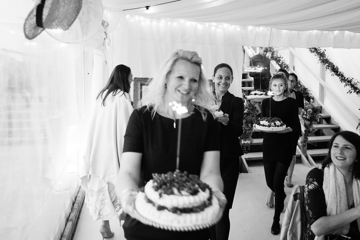 pavlova and sparklers are served
